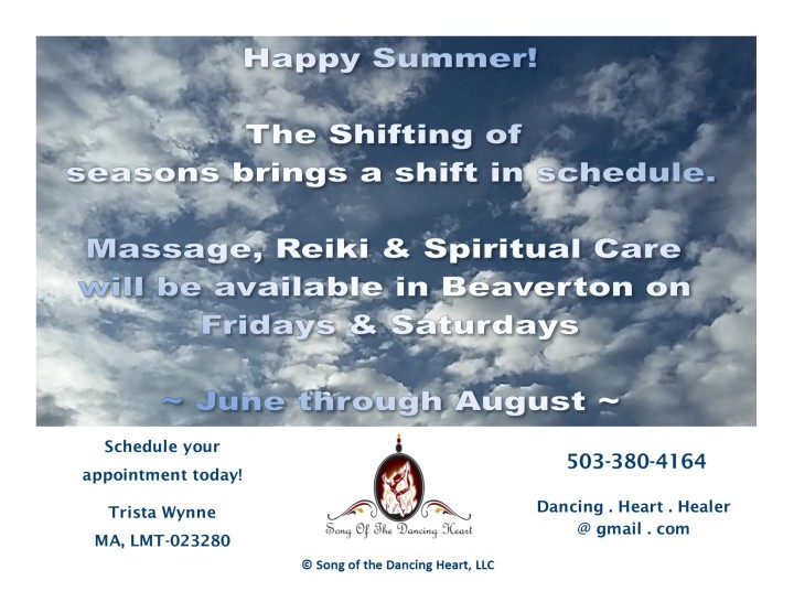 Summer Hours - June 2018 - Massage, Reiki, Spiritual Care
